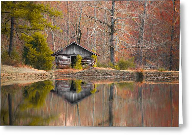 Peaceful Tree At Sunset Greeting Cards - Cabin by the Lake in Autumn Greeting Card by Shelby  Young