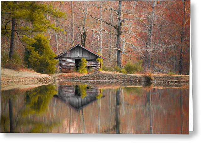 Reflection On Pond Greeting Cards - Cabin by the Lake in Autumn Greeting Card by Shelby  Young