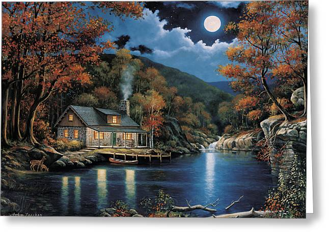 Zaccheo Greeting Cards - Cabin by the Lake Greeting Card by John Zaccheo