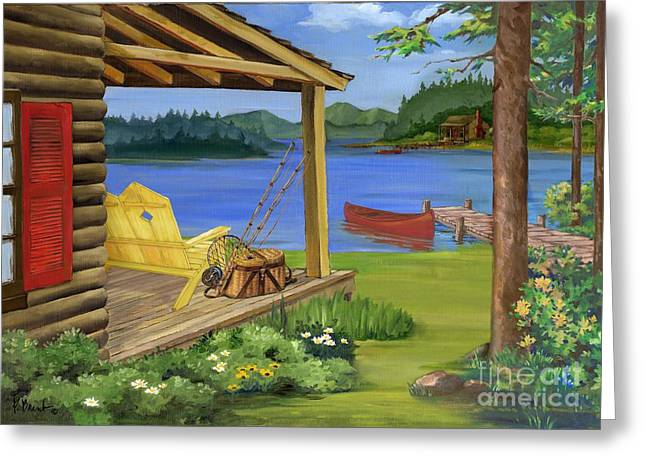 Canoe Greeting Cards - Cabin by the Lake Greeting Card by Paul Brent