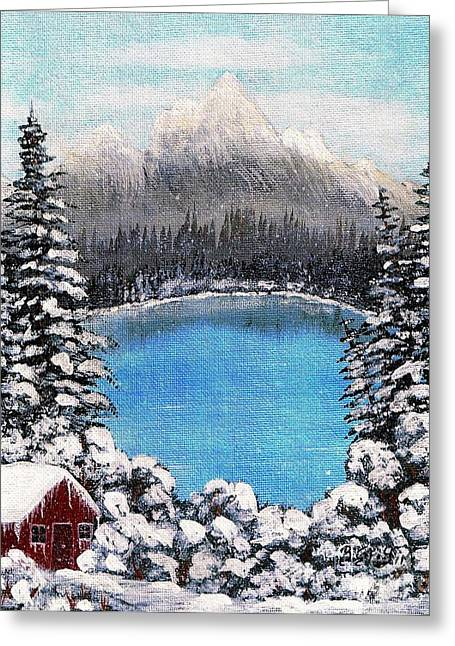 Mound Paintings Greeting Cards - Cabin by the Lake - Winter Greeting Card by Barbara Griffin