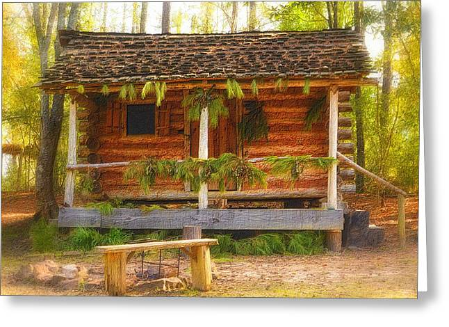 Decorated For Christmas Greeting Cards - Cabin Christmas Greeting Card by Nadalyn Larsen
