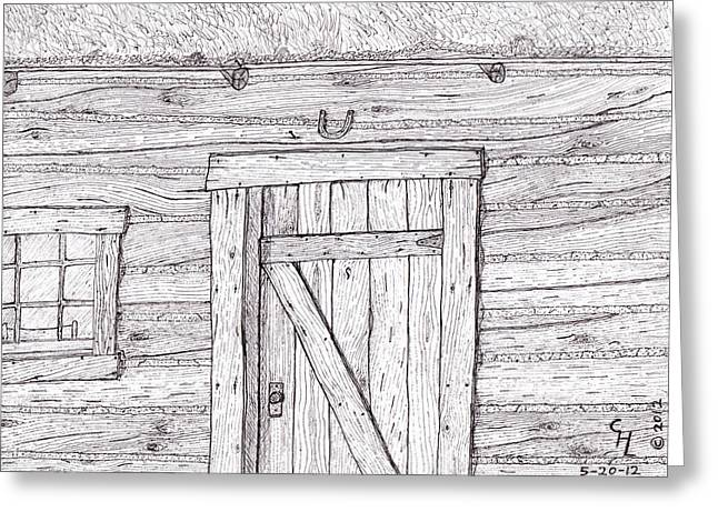 Wood Grain Drawings Greeting Cards - Cabin Greeting Card by Clark Letellier