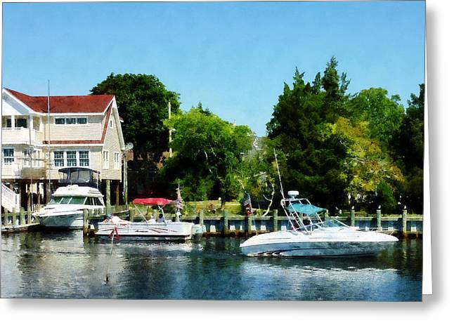 Boat Greeting Cards - Cabin Cruisers Greeting Card by Susan Savad