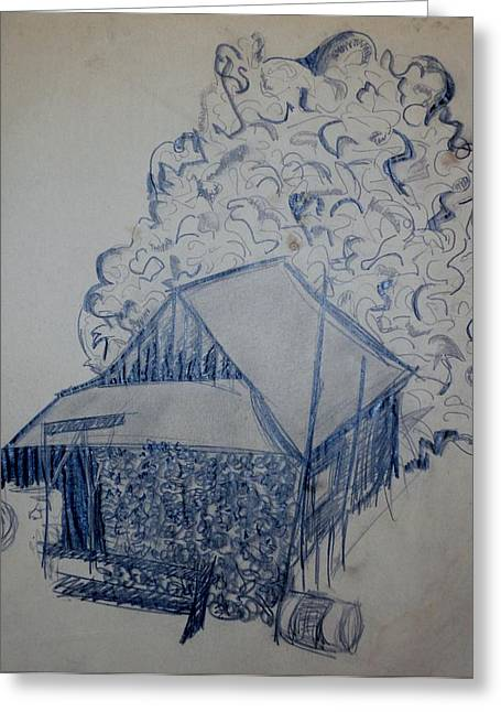 Old Cabins Drawings Greeting Cards - Cabin Greeting Card by Erika Chamberlin