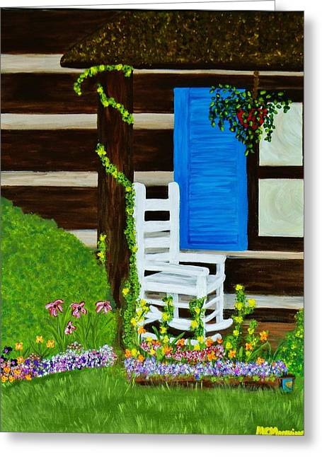 Log Cabins Greeting Cards - Cabin Fever Greeting Card by Celeste Manning