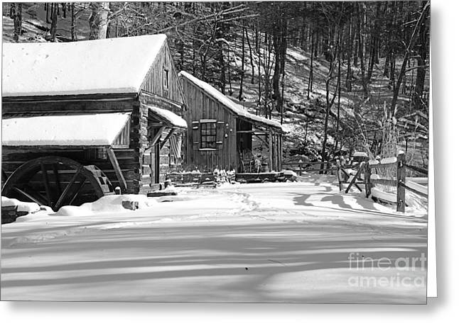 Snow Scene Landscape Greeting Cards - Cabin Fever in Black and White Greeting Card by Paul Ward
