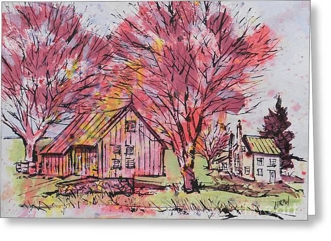 Franklin Farm Greeting Cards - Cabin Hallow Road Farm Greeting Card by Larry Lerew