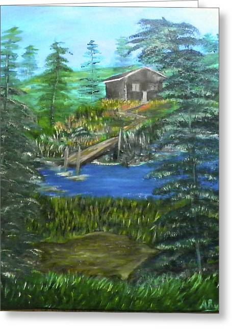 Mountain Cabin Mixed Media Greeting Cards - Cabin Hideaway  Greeting Card by Annette Forlenza
