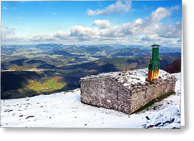 Mountain Cabin Greeting Cards - Cabin In A Mountain With Beautiful Views In Winter Greeting Card by Mikel Martinez de Osaba