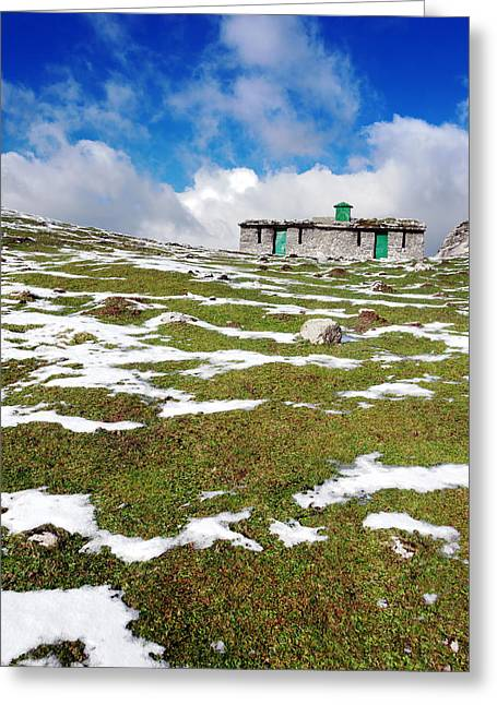 Mountain Cabin Greeting Cards - Cabin In Mountain With Some Snow Greeting Card by Mikel Martinez de Osaba