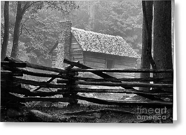 Cabin in the Fog Greeting Card by Julie Dant