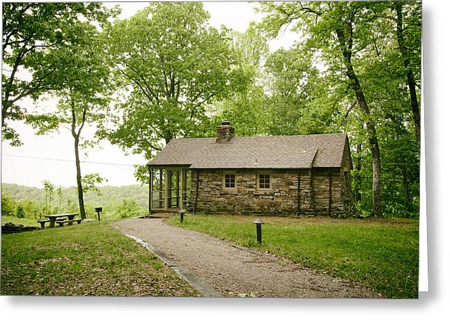 Screened Porchs Greeting Cards - Cabin in the Forest Greeting Card by Mountain Dreams