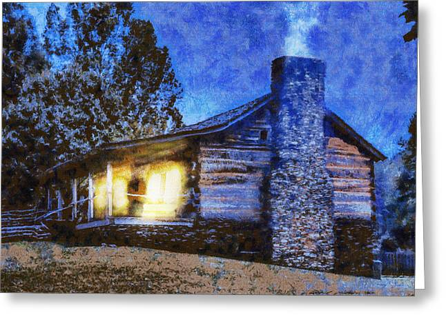 Cabin Window Digital Art Greeting Cards - Cabin in the Mountains Greeting Card by Barry Jones