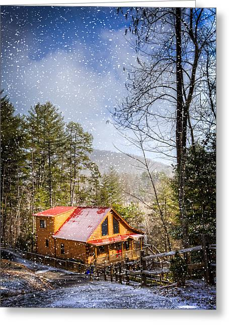 Old Country Roads Greeting Cards - Cabin in the Snow Greeting Card by Debra and Dave Vanderlaan