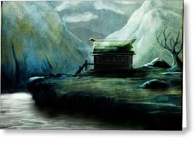 Recently Sold -  - Creepy Digital Art Greeting Cards - Cabin in the valley Greeting Card by Mark Ehrett
