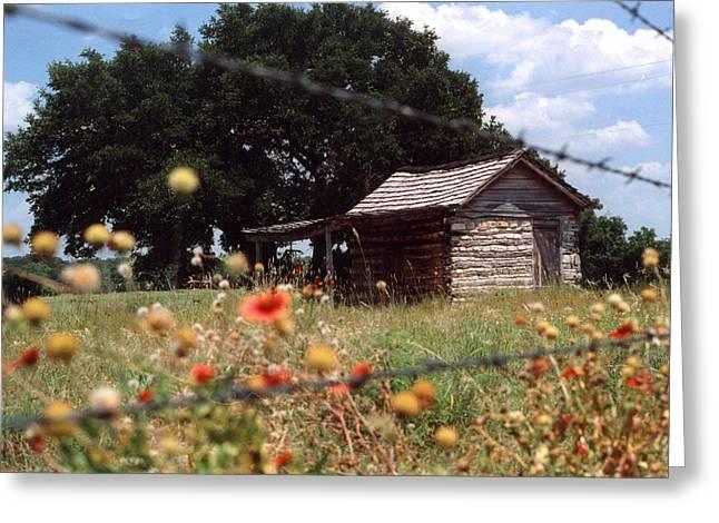 Fredricksburg Greeting Cards - Cabin in the Wildflowers Greeting Card by Glenn Aker