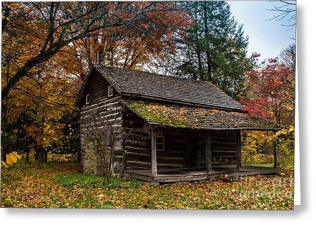Indiana Autumn Greeting Cards - Cabin in the Woods Greeting Card by Jim McCain