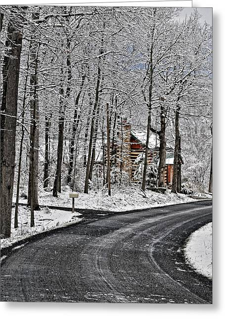 Log Cabins Greeting Cards - Cabin In The Woods Greeting Card by Lara Ellis