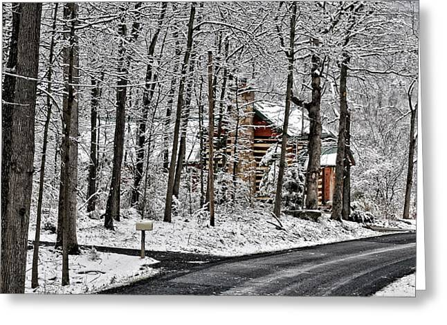 Cabin In The Woods Greeting Card by Lara Ellis