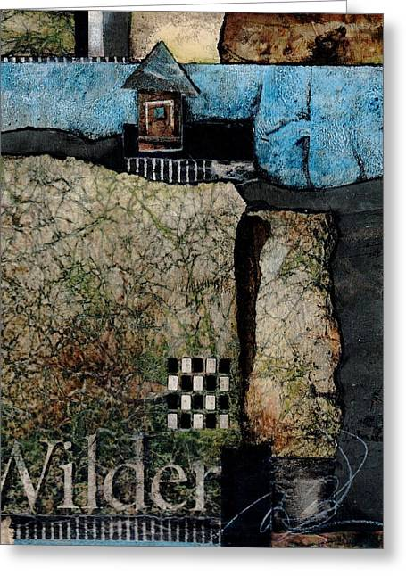 Blue And Green Mixed Media Greeting Cards - Cabin in the Woods Greeting Card by Laura  Lein-Svencner