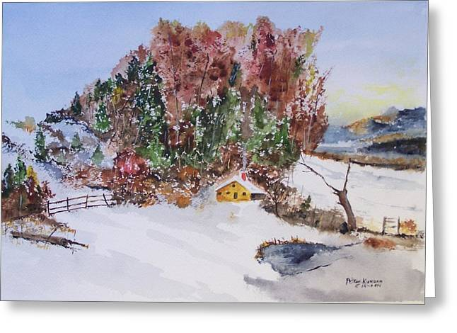 Hunting Cabin Greeting Cards - CABIN in the WOODS Greeting Card by Peter Kundra