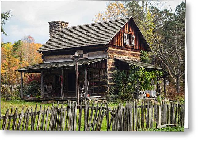 Pioneer Homes Digital Greeting Cards - Cabin In The Woods Greeting Card by Sharon Sesco Howard
