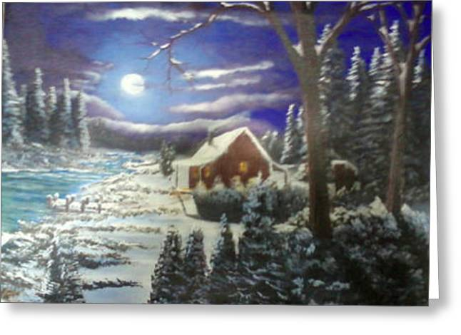 Jimmy Johnson Greeting Cards - Cabin in Winter Greeting Card by Jimmy Johnson