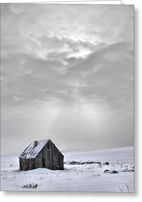 Old Cabins Photographs Greeting Cards - Cabin in Winter Greeting Card by Leland D Howard