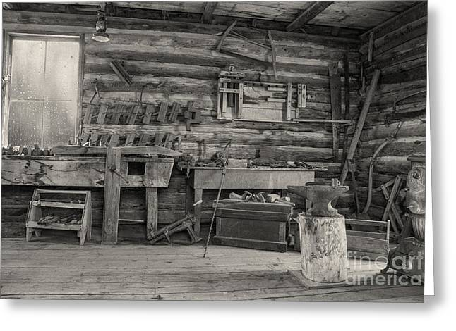 Old Cabins Greeting Cards - Rustic Cabin Interior Greeting Card by Juli Scalzi