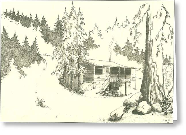 Puget Sound Drawings Greeting Cards - Cabin Greeting Card by Julio R Lopez Jr
