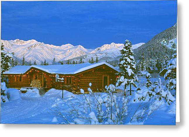 Holiday Decoration Greeting Cards - Cabin Mount Alyeska, Alaska, Usa Greeting Card by Panoramic Images