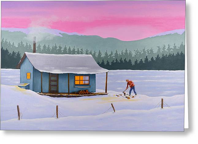 Mountain Cabin Paintings Greeting Cards - Cabin on a frozen lake Greeting Card by Gary Giacomelli