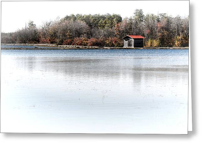 Shack Greeting Cards - Cabin on a Lake Greeting Card by Olivier Le Queinec