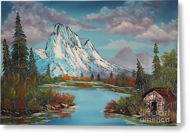 Bob Ross Paintings Greeting Cards - Cabin On The Lake Greeting Card by Bob Williams