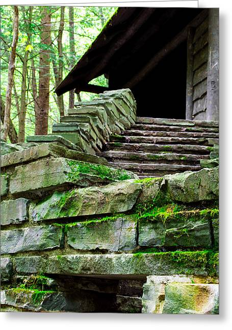 Buttermilk Falls Greeting Cards - Cabin Staircase - Buttermilk Falls Greeting Card by John Baumgartner
