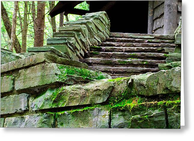 Cabin Staircase - Buttermilk Falls Greeting Card by John Baumgartner