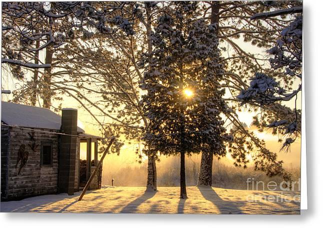 Marianne Kuzimski Greeting Cards - Cabin Sunrise Greeting Card by Marianne Kuzimski