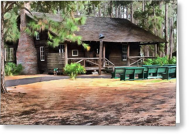 Log Cabin Art Paintings Greeting Cards - Cabin Surrounded by Pine Trees  Greeting Card by L Wright