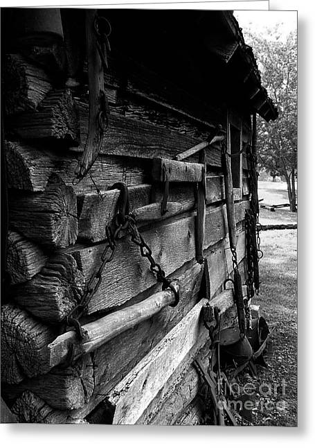 Log Cabins Greeting Cards - Cabin Wall II Greeting Card by Julie Dant