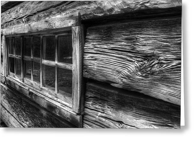 Wooden Building Greeting Cards - Cabin Window Greeting Card by Wendell Thompson