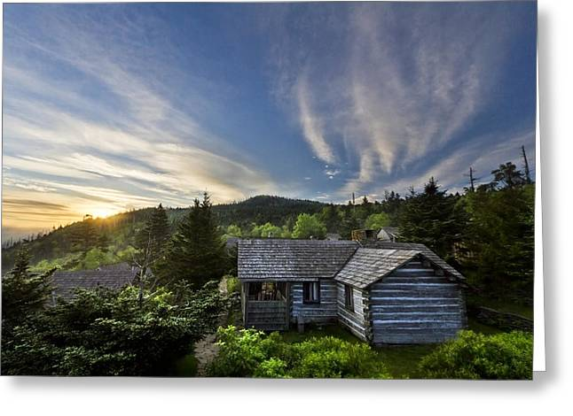 Mountaintop. Trees Greeting Cards - Cabins at Dawn Greeting Card by Debra and Dave Vanderlaan