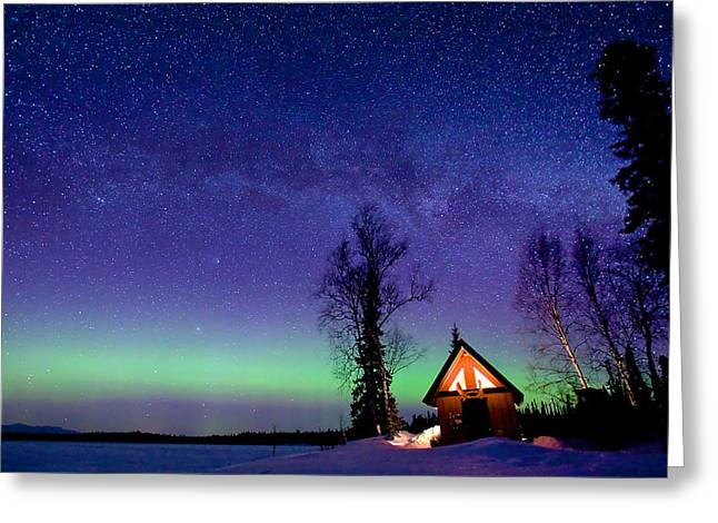 Recently Sold -  - Snow Scene Landscape Greeting Cards - Cabins Glow Greeting Card by Ed Boudreau