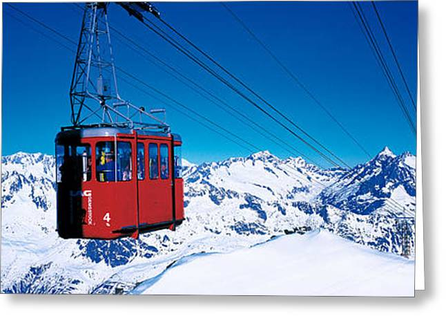 Snowy Day Greeting Cards - Cable Car Andermatt Switzerland Greeting Card by Panoramic Images