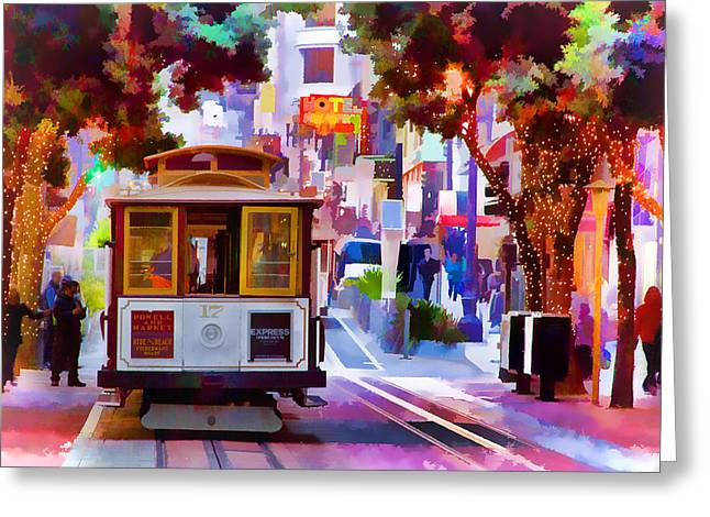 Union Square Greeting Cards - Cable Car at the Powell Street Turnaround Greeting Card by Bill Gallagher