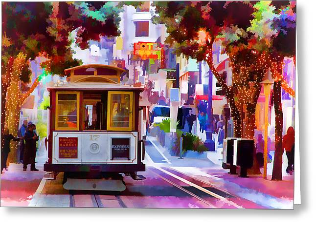 Cable Car At The Powell Street Turnaround Greeting Card by Bill Gallagher