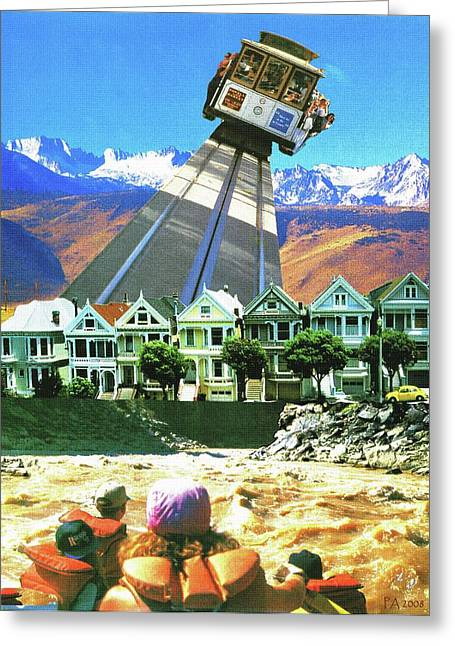 Usa Greeting Cards - Cable Car Fly 77 - Fantasy Collage Greeting Card by Art America - Art Prints - Posters - Fine Art