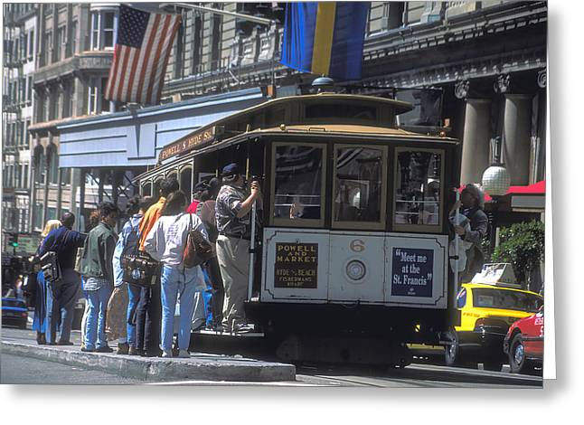 St Francis Hotel Greeting Cards - Cable Car in San Francisco 3 Greeting Card by Carl Purcell