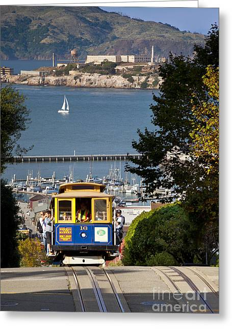 Alcatraz Greeting Cards - Cable Car in San Francisco Greeting Card by Brian Jannsen