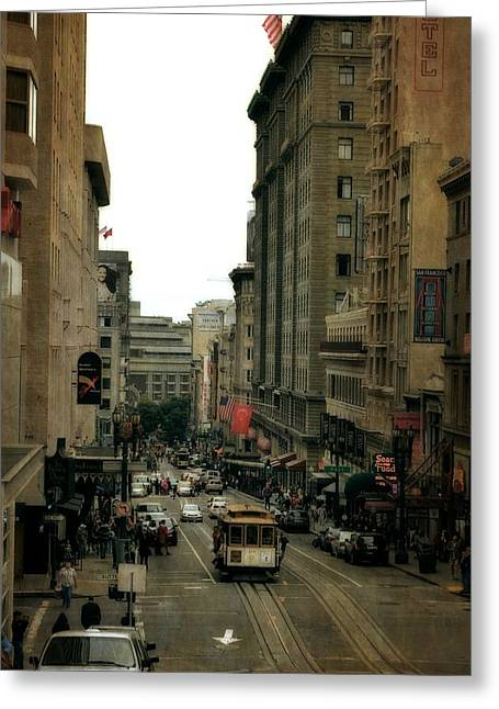 Union Square Greeting Cards - Cable Car in the City Greeting Card by Michelle Calkins